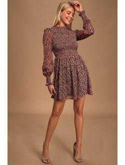 Forever Green And Pink Floral Print Smocked Skater Dress