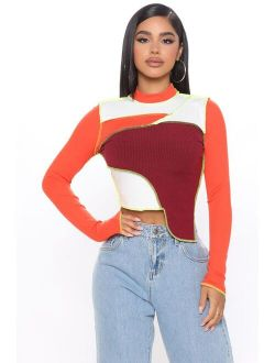 Let's Block The Shade Ribbed Top - Orange/combo