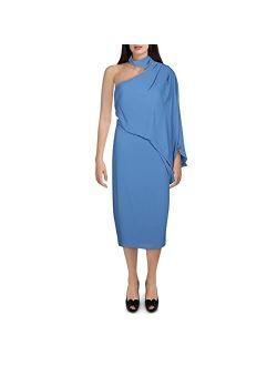 Women's Wrap Neck Asymmetric Draped Dress