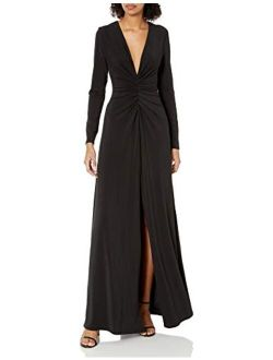 Women's Long Sleeve V Neck Ruched Front Gown