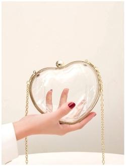 Women Heart-shaped Clutch Purse Transparent Acrylic Evening Bags Handbag For Bride Wedding Party Prom