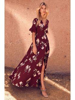 September Sunsets Burgundy Floral Print Wrap Maxi Dress