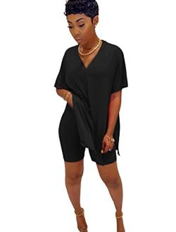 Plus Size Tops for Women 2 Piece Summer Outfits Shorts Sets Lounge Sets Tracksuits