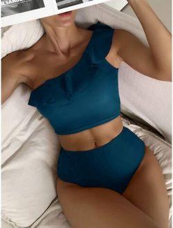 Ruffle Trim One Shoulder Bikini Swimsuit