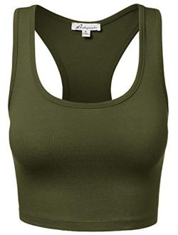 Women's Sports Crop Top Racerback Caging Cotton Workout Yoga Tank Tops