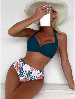 Leaf Print Twist Front Halter Bikini Swimsuit