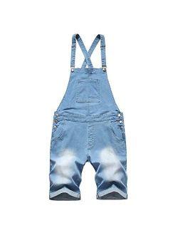 LONGBIDA Mens Denim Shorts Bib Overalls Jeans Casual Walkshort Summer Jumpsuit with Pockets