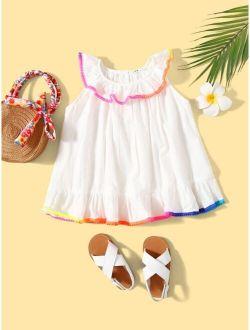 Toddler Girls Rainbow-binding Trim Top