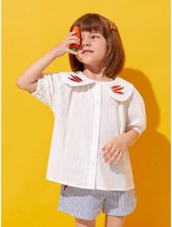 Toddler Girls Embroidery Carrot Peter-pan Collar Puff Sleeve Blouse