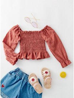 Toddler Girls Bardot Shirred Peplum Blouse