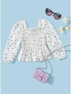 Toddler Girls Heart Print Shirred Peplum Blouse