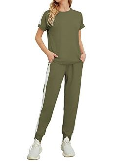 Women's 2 Piece Outfits Casual Short Sleeve Top Long Pant Sweatsuits Tracksuits