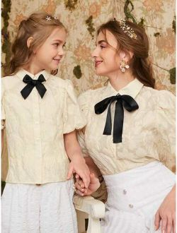 Girls 1pc Bow Front Puff Sleeve Blouse