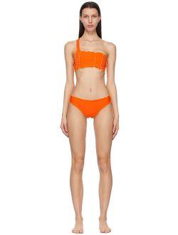 Sherris Orange Ruffle One Strap Bikini