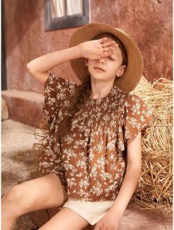 Girls 100% Cotton Shirred Yoke Ruffle Armhole Top