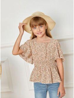 Girls Ditsy Floral Print Flutter Sleeve Shirred Waist Peplum Top
