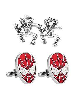 Outlander Gear Marvel Comics 2 Pairs Spiderman Crawling & Spiderman Superhero 2018 Movie Mens Boys Cufflinks