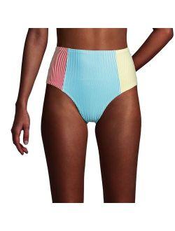 Nds' End High-waist Upf 50 Seersucker Bikini Bottoms