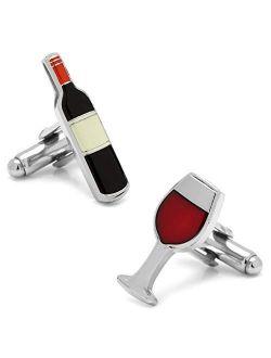Wine Bottle and Glass Cufflinks