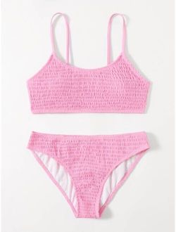 Solid Smocked Bikini Swimsuit