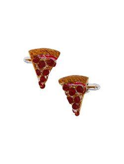 MRCUFF Pizza Slice Pair Cufflinks in a Presentation Gift Box & Polishing Cloth
