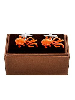MRCUFF Fancy Goldfish Fish Koi Pair Cufflinks in a Presentation Gift Box & Polishing Cloth