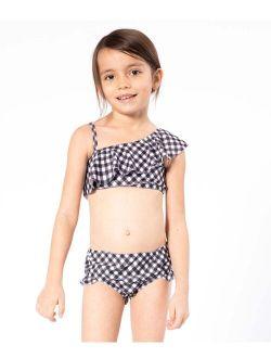 Black Gingham Asymmetrical Bikini - Toddler & Girls