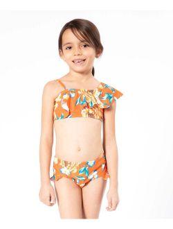 Orange Bramble Floral Asymmetrical Bikini - Toddler