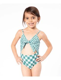 Forest Gingham Cutout One-Piece - Toddler & Girls