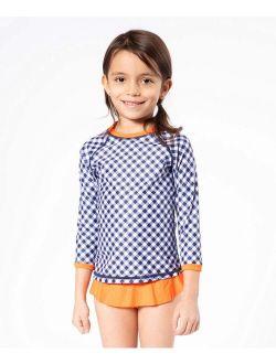 Navy & Orange Gingham Rashguard Set - Toddler & Girls