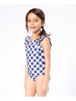 Navy Gingham Ruffle One-Piece - Toddler & Girls