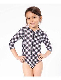 Black Gingham One-Piece Rashguard - Toddler & Girls