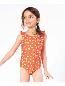 Carrot Daisy Ruffle One-Piece - Toddler & Girls
