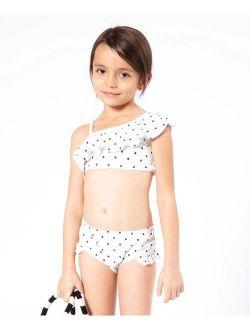 Cream & Black Polka Dot Asymmetrical Bikini - Toddler & Girls
