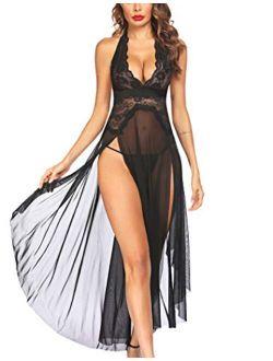 Women Lingerie Deep V Neck Nightwear One Piece Sexy Nightgowns Mosaic Lace Mesh Dress