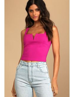 Elevated Affection Hot Pink Notched Cropped Tank Top