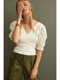 Ruched Cut-Out Blouse