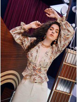 Floral Print Lace Trim Button Front Blouse