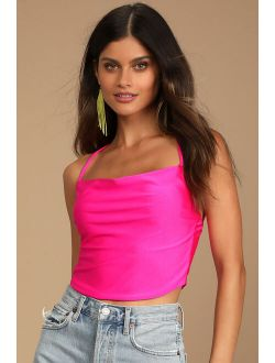All Night Party Magenta Cowl Neck Cropped Cami Top