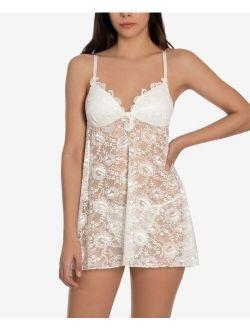 Linea Donatella Heather Babydoll Nightgown & Thong Lingerie Set