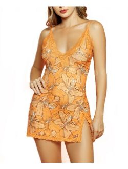 Hauty Women's Selena 2 Piece Lace V-Neck Floral Chemise Trimmed in Lace Set
