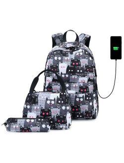 New School Backpack for School Girls Teens Cat Prints Kids Bookbag Set Water Resistant Women Laptop Casual Daypack Lightweight