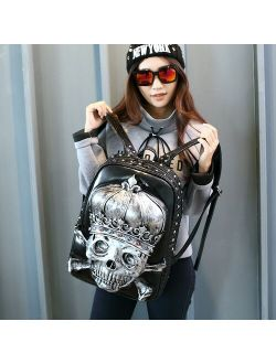 Fashion 3D Embossed Crown Skull Backpack bags for Women unique Girls Cool Rock Bags Rivet Personality Laptop bag for Teenagers