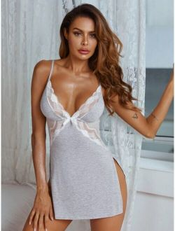 Contrast Lace Dress With Thong