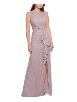 Petite Ruffled Shimmer Gown