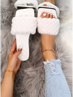 Quilted Embossed Fluffy Slide Sandals