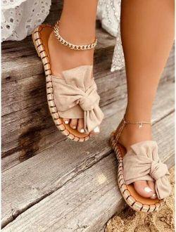 EMERY ROSE Bow Knot Decor Suede Espadrille Slide Sandals