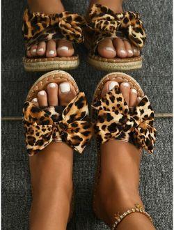 Leopard Bow Decor Espadrille Slide Sandals