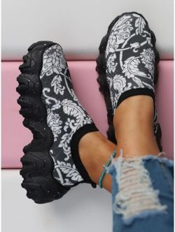 Floral Graphic Slip-On Chunky Sneakers