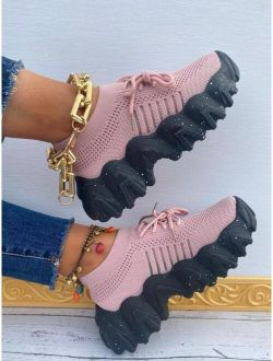 Fabric Lace-up Front Chunky Sneakers
